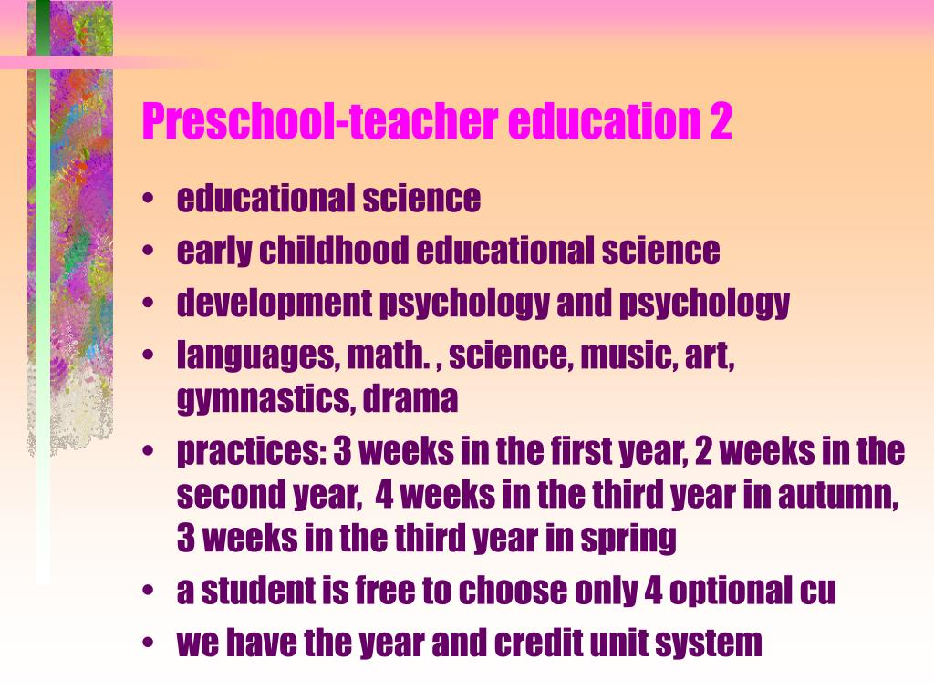 Preschool-teacher education 2