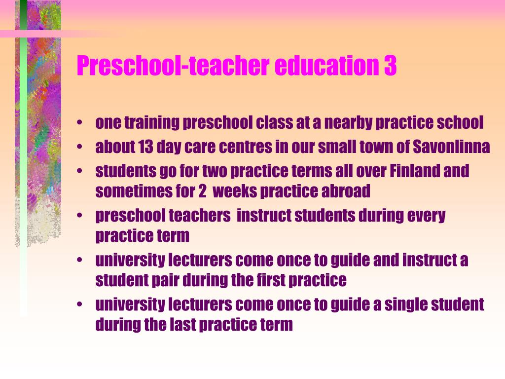 Preschool-teacher education 3