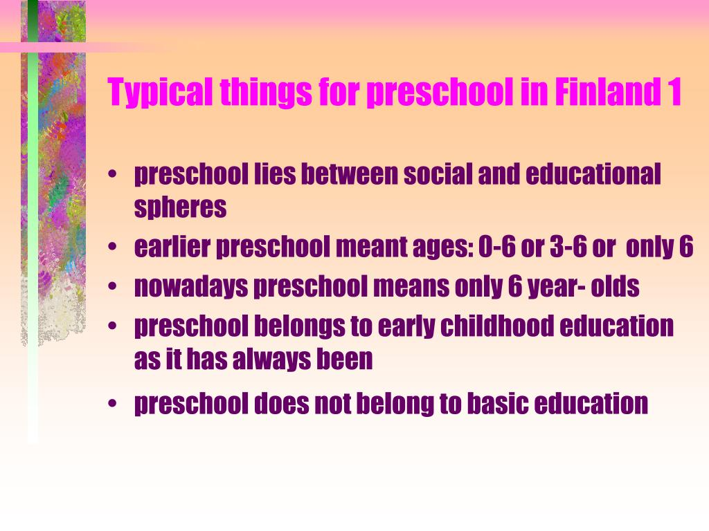 Typical things for preschool in Finland 1