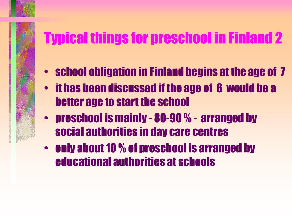 Typical things for preschool in Finland 2