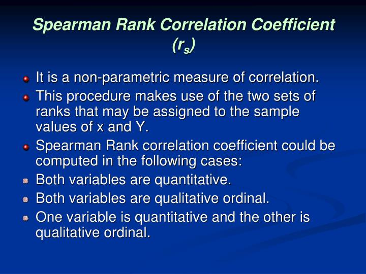 Spearman Rank Correlation Coefficient (r