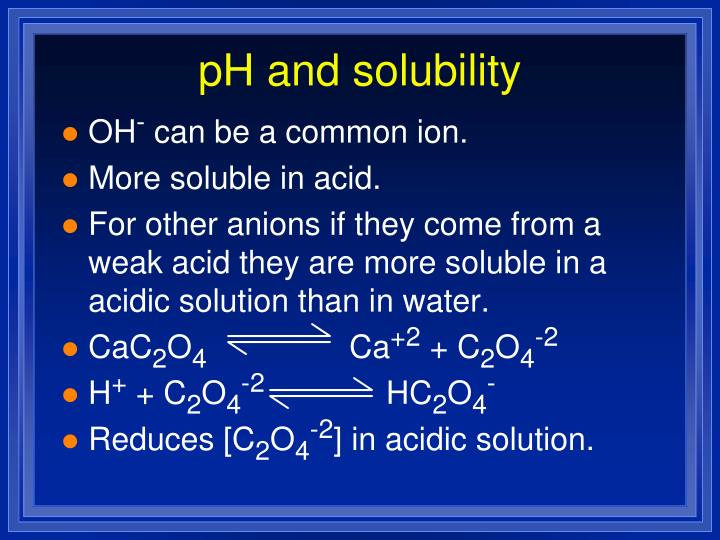 pH and solubility
