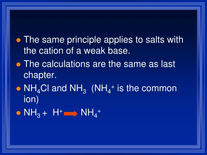 The same principle applies to salts with the cation of a weak base.