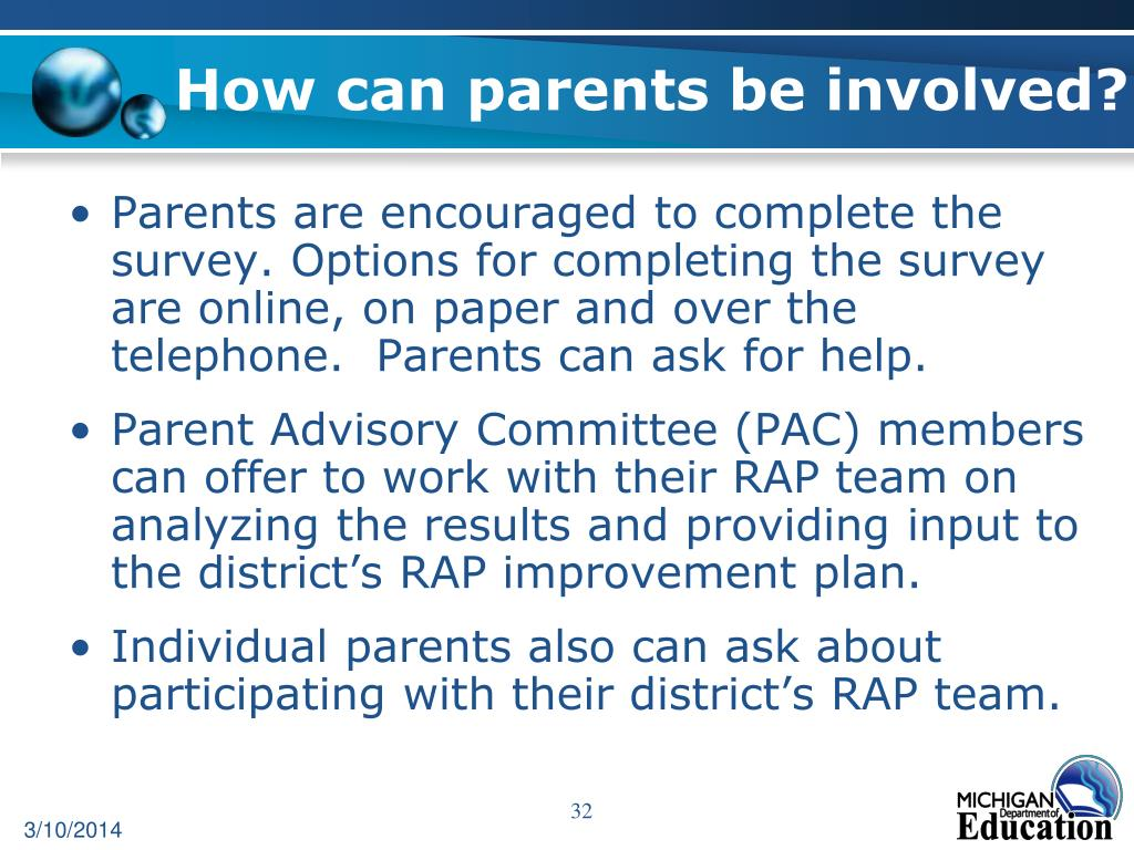 How can parents be involved?