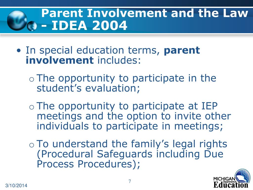 Parent Involvement and the Law