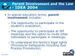 parent involvement and the law idea 2004