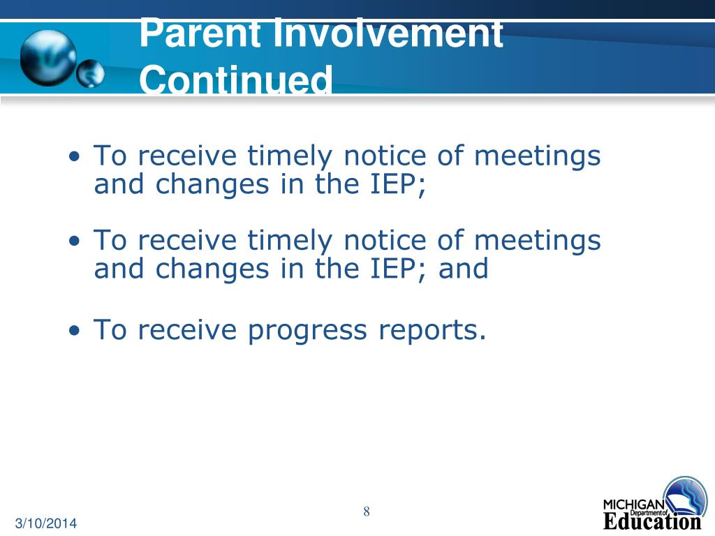 Parent Involvement Continued