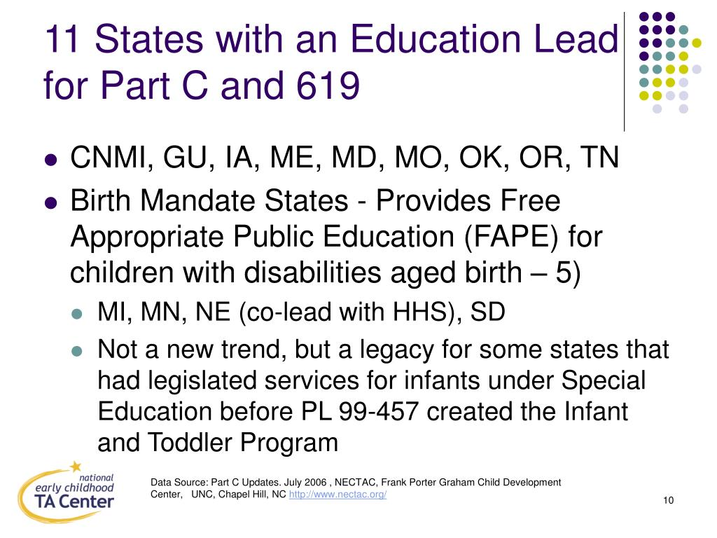 11 States with an Education Lead for Part C and 619