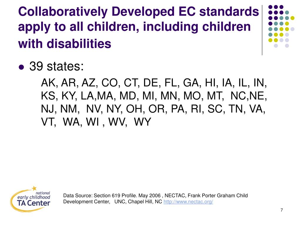 Collaboratively Developed EC standards apply to all children, including children with disabilities