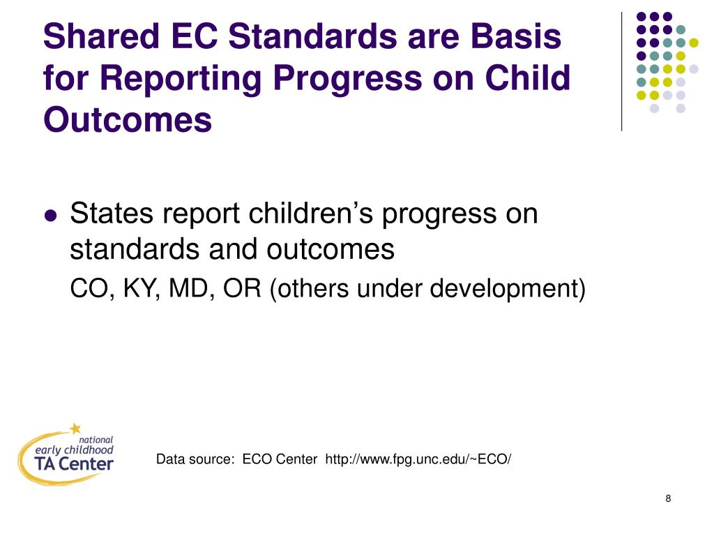 Shared EC Standards are Basis for Reporting Progress on Child Outcomes
