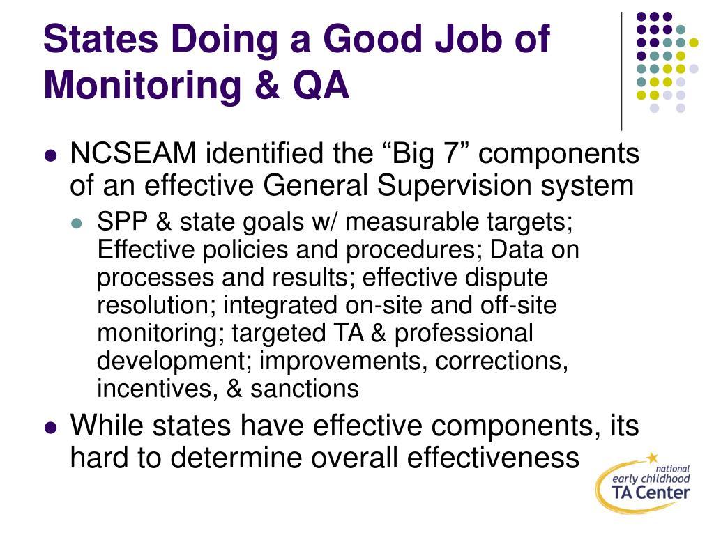 States Doing a Good Job of Monitoring & QA