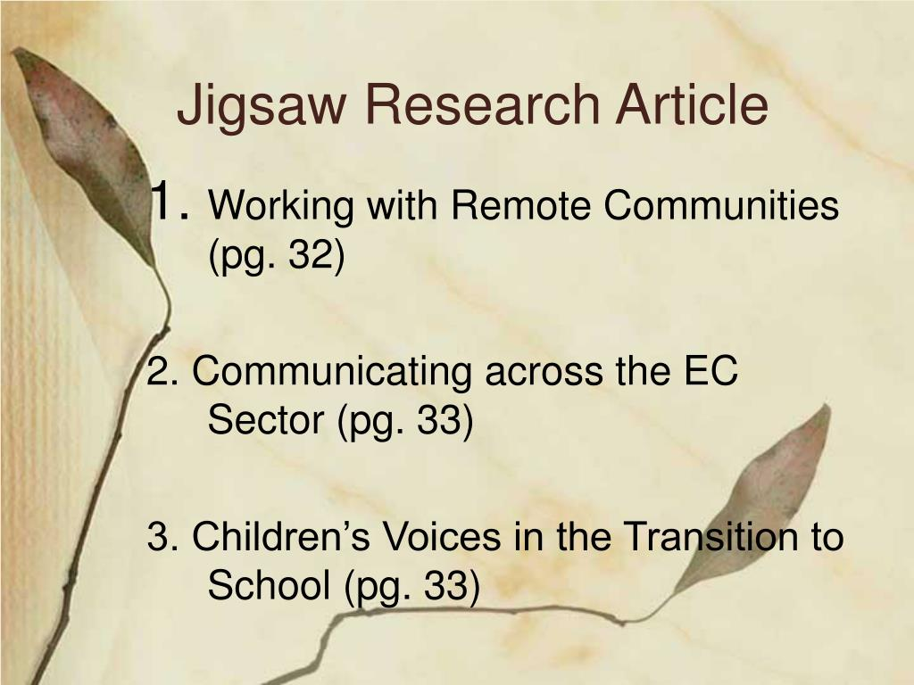 Jigsaw Research Article