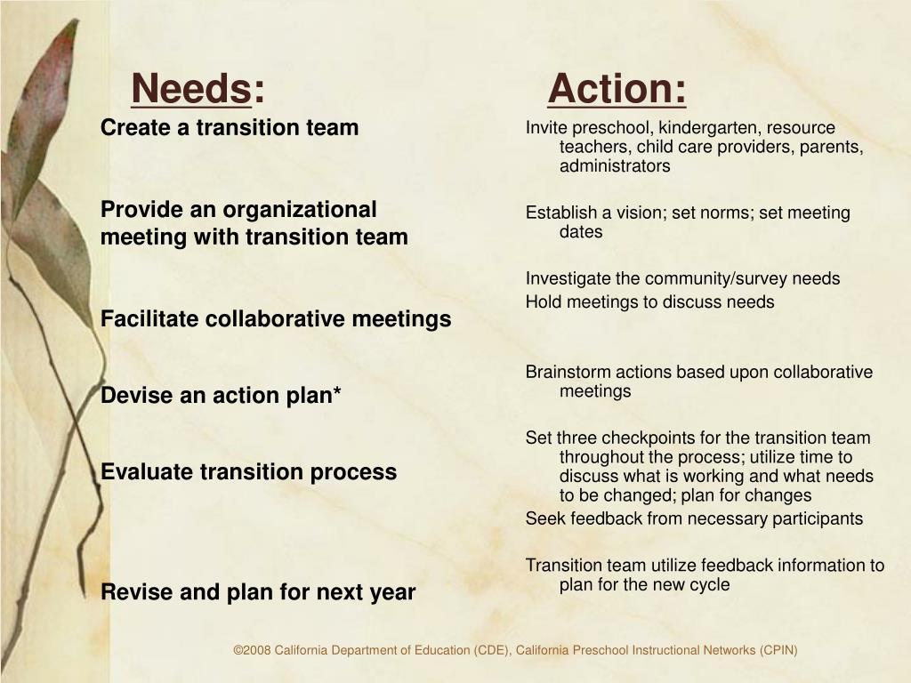 Create a transition team