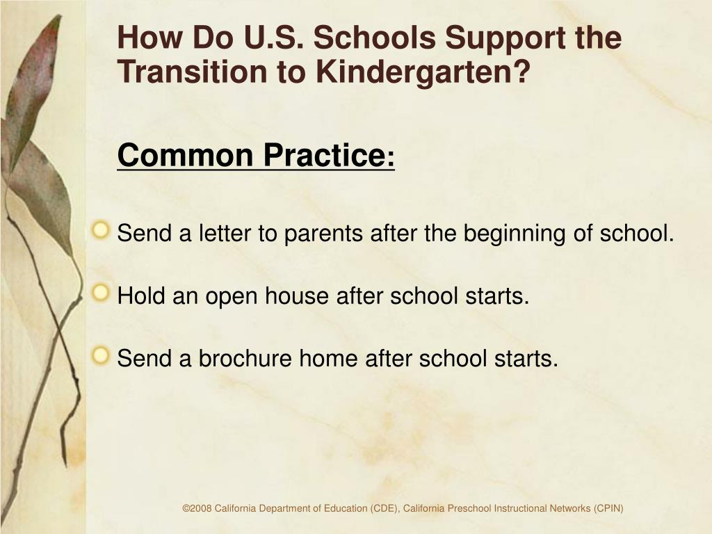 How Do U.S. Schools Support the      Transition to Kindergarten?