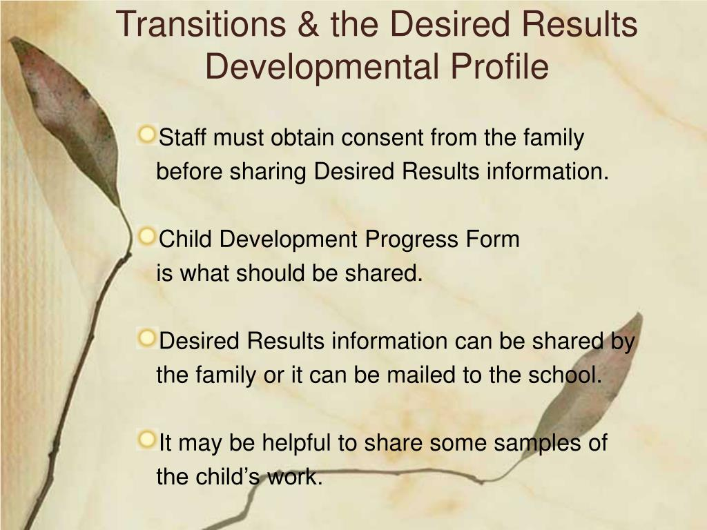 Transitions & the Desired Results Developmental Profile