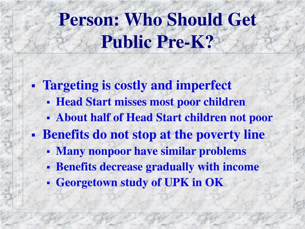 Person: Who Should Get Public Pre-K?