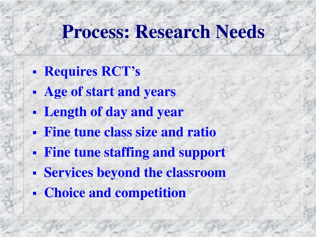 Process: Research Needs