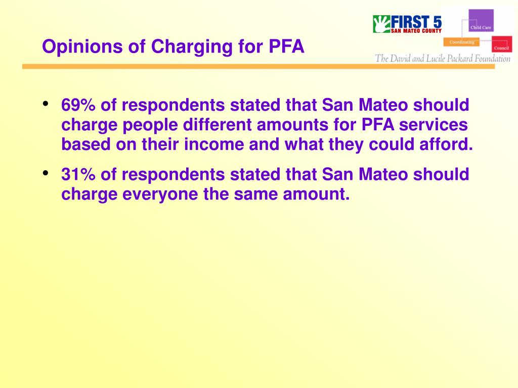 Opinions of Charging for PFA