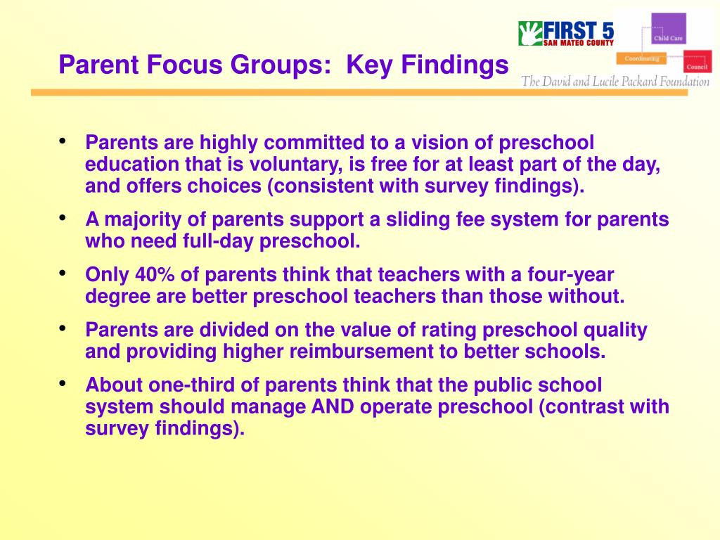 Parent Focus Groups:  Key Findings