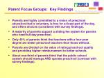 parent focus groups key findings