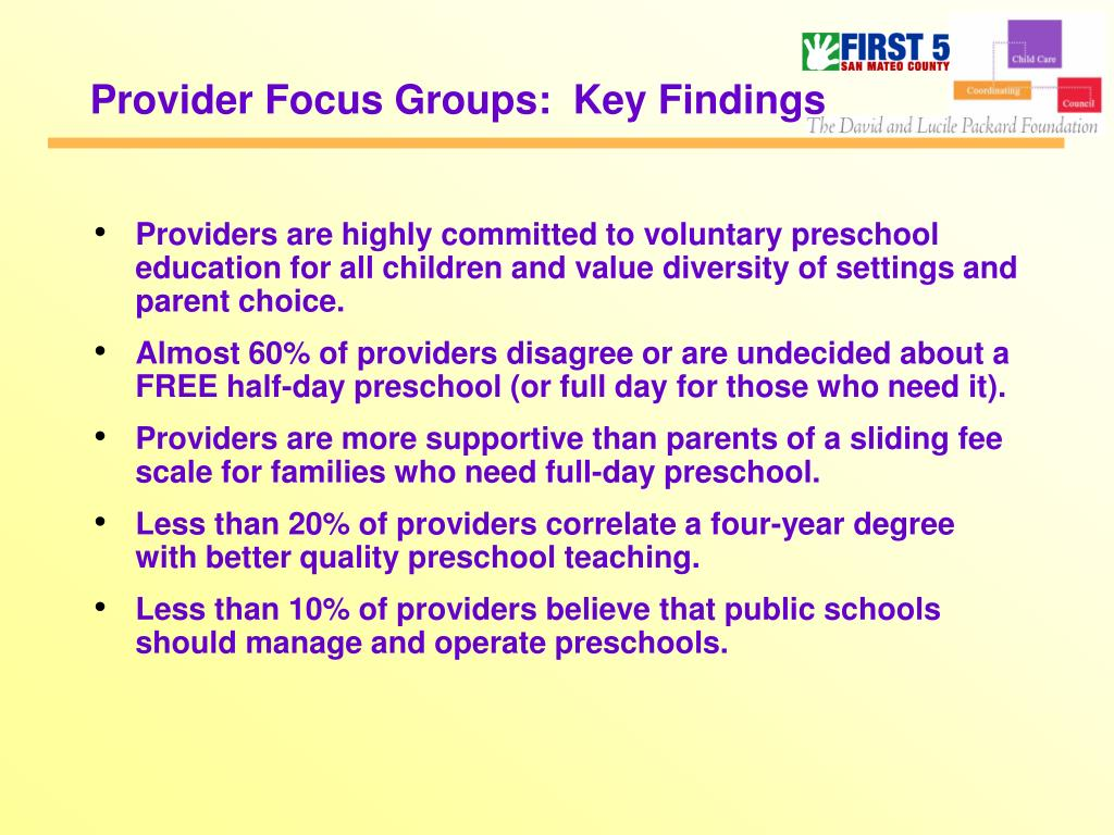 Provider Focus Groups:  Key Findings