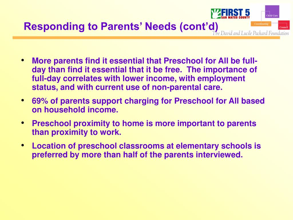 Responding to Parents' Needs (cont'd)