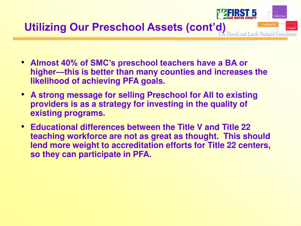 Utilizing Our Preschool Assets (cont'd)