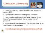 curriculum continued