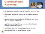 licensing process continued