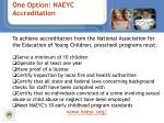 one option naeyc accreditation