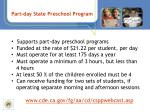 part day state preschool program