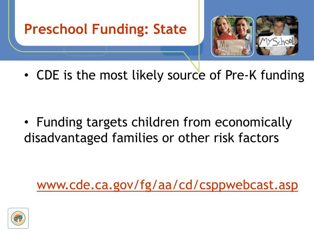 Preschool Funding: State