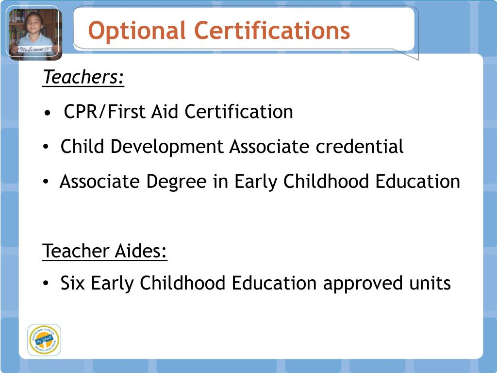 Optional Certifications