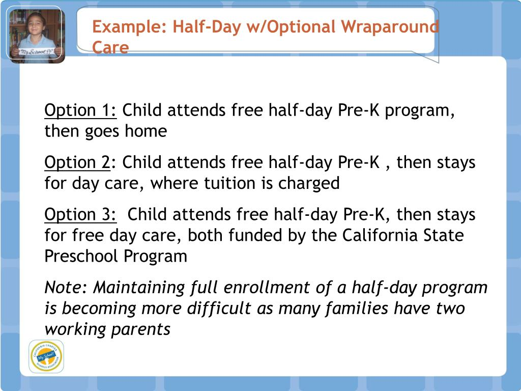 Example: Half-Day w/Optional Wraparound Care