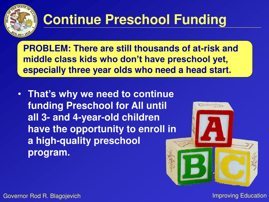 Continue Preschool Funding