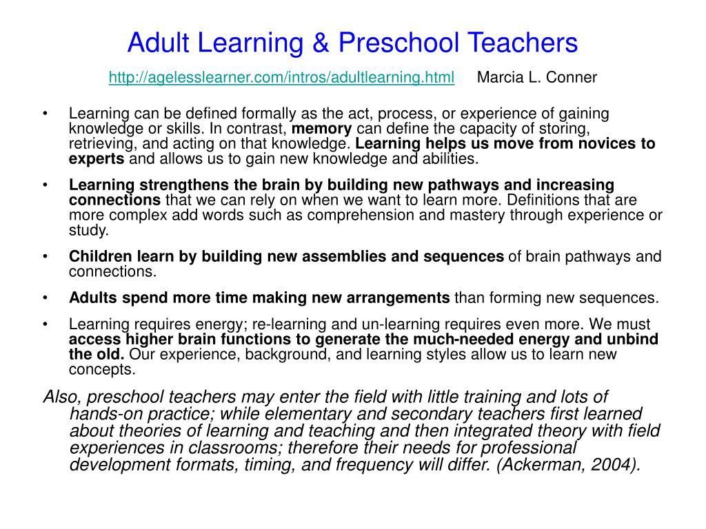 Adult Learning & Preschool Teachers