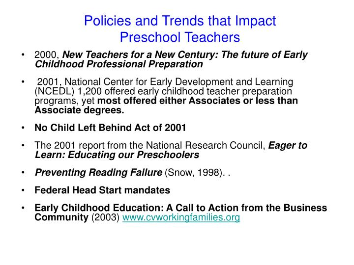 Policies and trends that impact preschool teachers