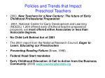 policies and trends that impact preschool teachers