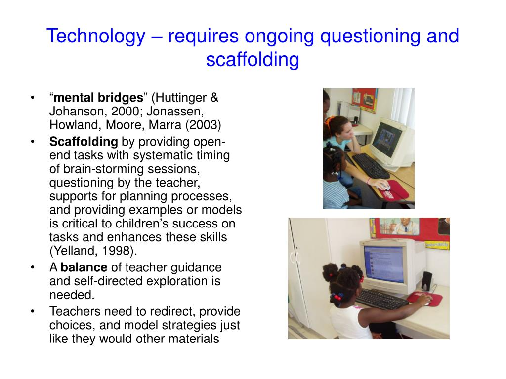 Technology – requires ongoing questioning and scaffolding