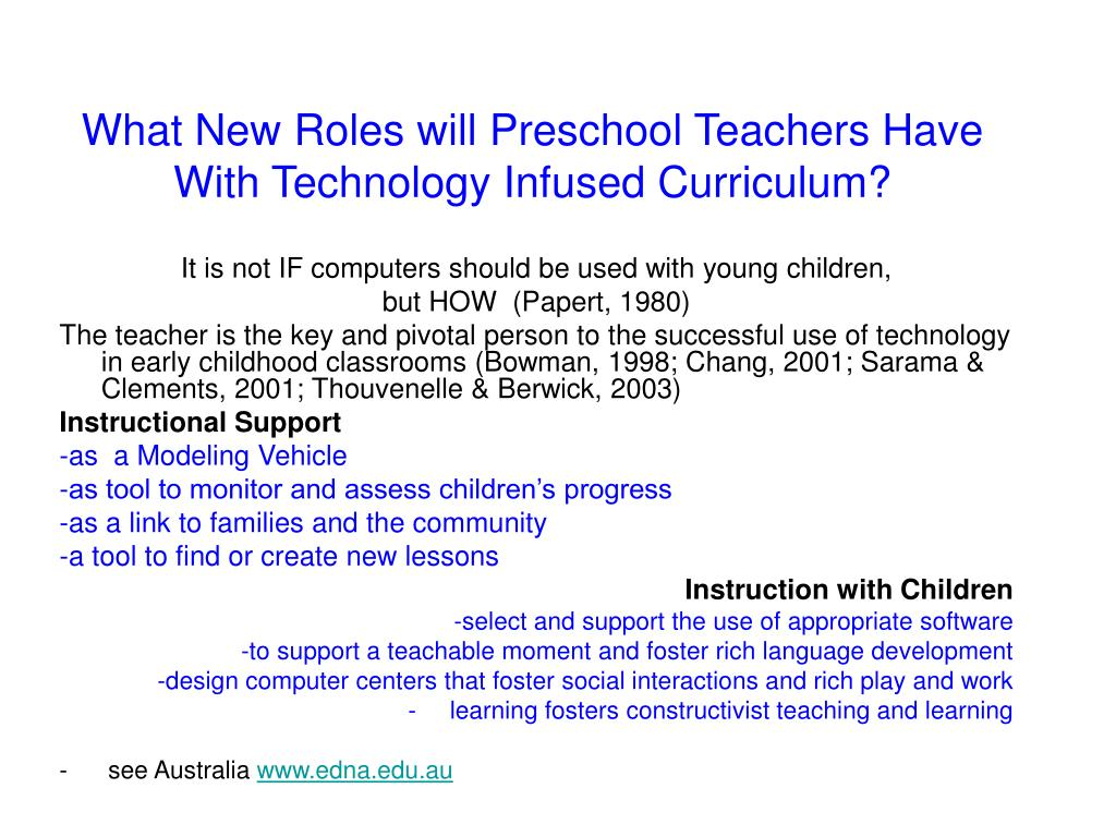 What New Roles will Preschool Teachers Have With Technology Infused Curriculum?