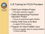 c b training for fcch providers