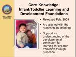 core knowledge infant toddler learning and development foundations