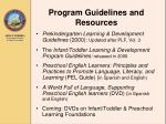 program guidelines and resources