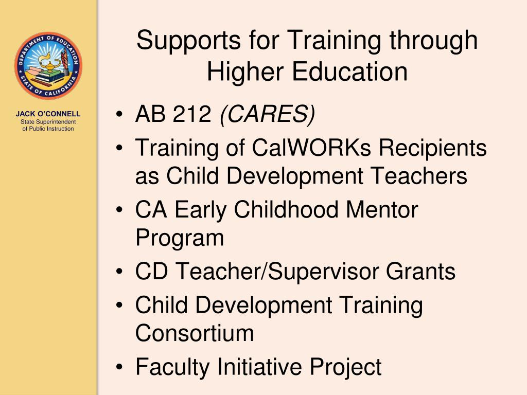 Supports for Training through Higher Education