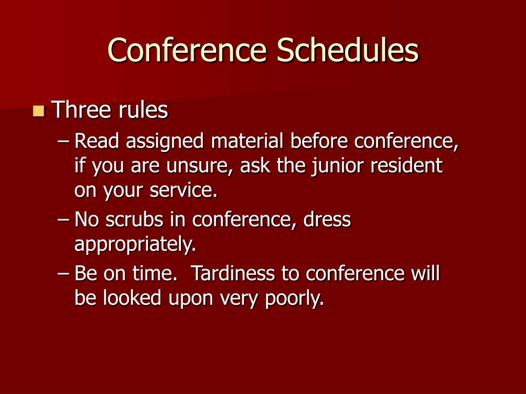 Conference Schedules