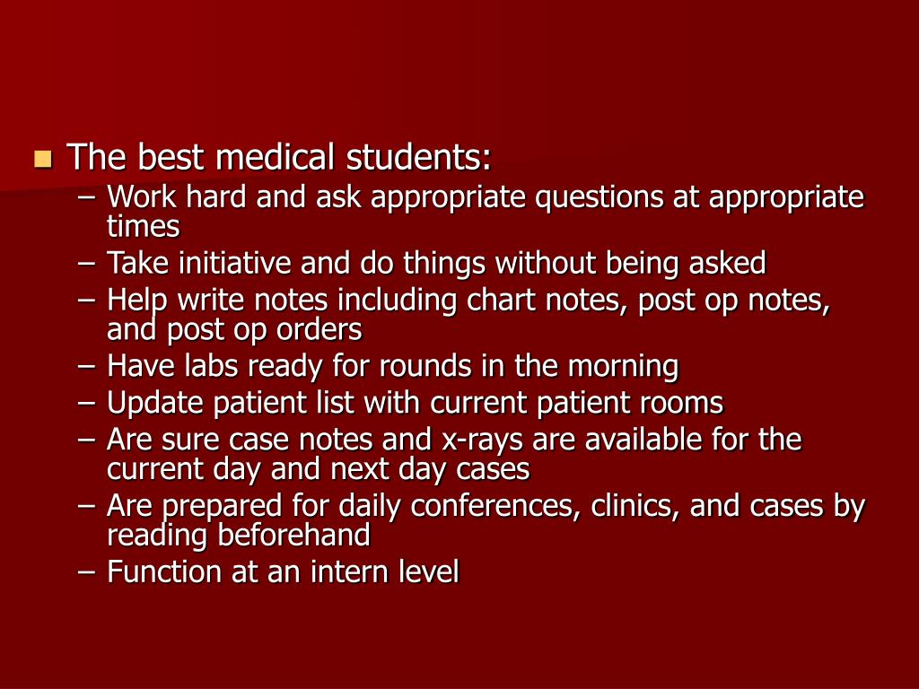 The best medical students: