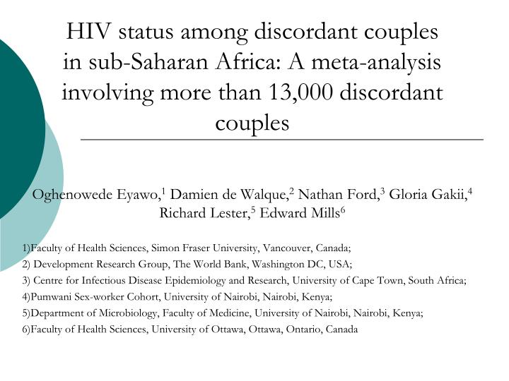 HIV status among discordant couples in sub-Saharan Africa: A meta-analysis involving more than 13,00...