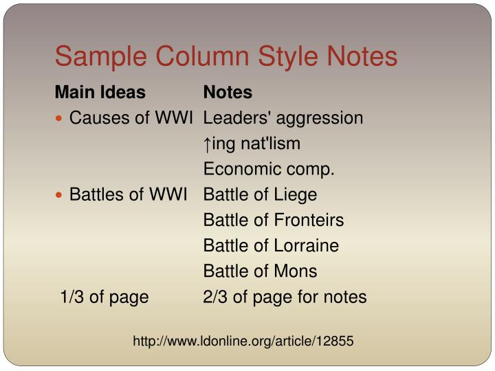 Sample Column Style Notes