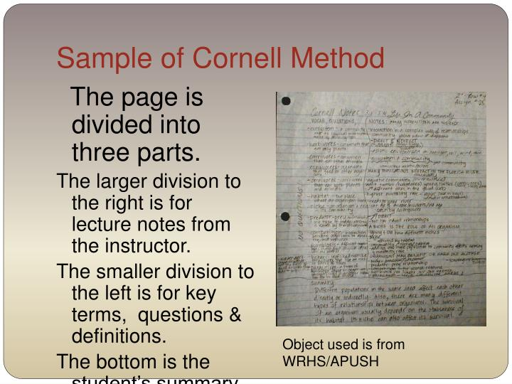 Sample of Cornell Method