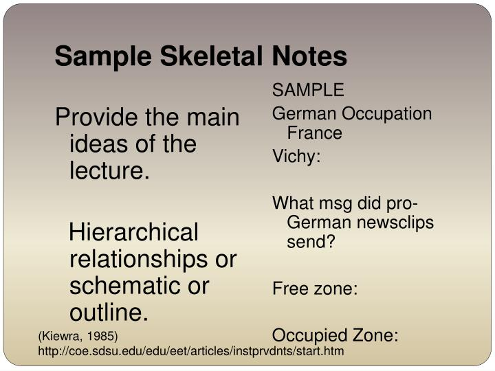 Sample Skeletal Notes